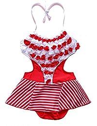 若い女の子 ストライプ 三次元の小さな花 水着 (色 : 赤, サイズ : XXL)