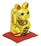 常滑焼 招き猫 黄金小判猫 右手 4号 座布団付き 金