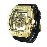 ビッグ レクタングル スケルトン クロス<ゴールドベゼル/クリアカラースワロ/ブラックベルト>腕時計 グルグル時計 ぐるぐる時計