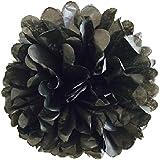 (20cm, Black) - Pack of 10 Tissue Paper Flower Ball Pom pom Party Decoration Indoor Outdoor 15cm 20cm 25cm 30cm 36cm (Black, 20cm)
