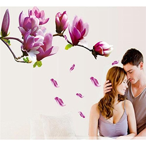 Lovke Huge Magnolia Flowers Mural Art Decal Wall Stickers Home Decoration Removable Decals Gift(As shown)