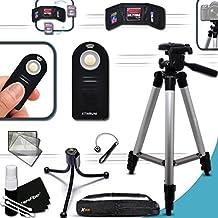 """Durable Full Size 60"""" inch TRIPOD + Universal Camera REMOTE Control KIT for Nikon D3200, D3300, D5100, D5200, D5300, D5500, D7000, D7100, D7200, D750, D810A, D810, D800, D610, D600, D7000 DSLR Cameras"""