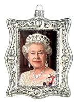 Queen Elizabeth IIダイヤモンドJubilee Portrait Polishガラスクリスマスオーナメント