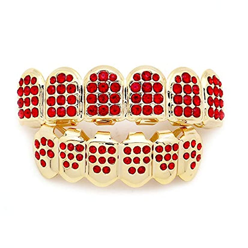連結する集計然としたダイヤモンドゴールドプレートHIPHOPティースキャップ、ヨーロッパ系アメリカ人INS最もホットなゴールド&ブラック&シルバー歯ブレース口の歯 (Color : Red)
