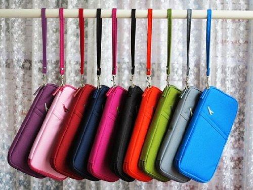 多収納 パスポートケース トラベルグッズ 多機能 携帯に便利な ストラップ付 色多数有 kazenokoオリジナルグッズ (黒)