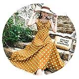 ビーチスカート春と夏のファッションのセクシーなスリムホルタータイバリビーチ休暇のドレスの女性,イエローロング,M