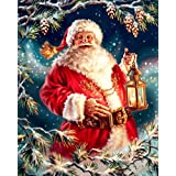 DIY 5D Diamond Painting Kits Full Drill Crystals Diamond Embroidery Rhinestone Painting Pasted Paint by Number Kits Stitch Craft Kit Home Decor - Santa Claus with A Lamp 12x16 inch