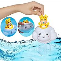 赤ちゃんの入浴幼児のゲーム、雨の雲の子供の浴室の浴槽の水のおもちゃで隠された鹿、遊泳プールの楽しみと素敵な渡しの時間