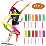 YANSHON 12pcs Dance Ribbons Rainbow Streamers Rhythmic Gymnastics Ribbon Wands, Ribbon Baton Twirlin