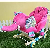 Vercart Kids Modern Plush Cute Cartoon Animal Rockerホイール子供Horse Ride On CouchおもちゃRocking Chair Fushcia