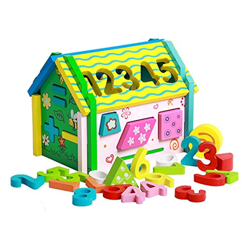 KidsブロックHouse幼児教育37ピース木製ビルディングブロックセットパズルToy