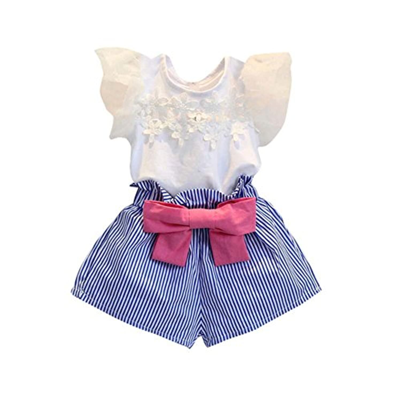 Ochine 女の子 Tシャツ+ショートパンツ レース 蝶結び 上下2点セット 子供洋服 セットアップ  誕生日 入学式 子供の日 三五七 遊園地 演奏会に