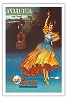 アンダルシア、スペイン - その呪文の下でお楽しみください - スペインのイベリア航空 - ビンテージな航空会社のポスター 1959 - アートポスター - 76cm x 112cm