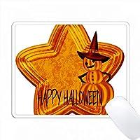 オレンジのハロウィンスター、カボチャの魔女とハッピーハロウィン PC Mouse Pad パソコン マウスパッド