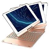 iEGrow iPad 9.7 キーボードケース 7色バックライト 360度回転式 反転可能 スタンド機能 オートスリープ ワイヤレスbluetoothキーボード iPad Air2/iPad Air/iPad Pro 9.7/2017/2018 New iPad 9.7に対応キーボードカバー(ローズゴールド)