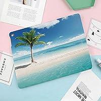 軽量版iPad 9.7 2018/2017 ケース 軽量 薄型 スタンド オートスリープ機能 2017年と2018年の新型 9.66 iPad ケース 風景海岸画像日光ビューパームツリー