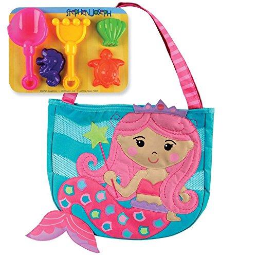 ステファンジョセフ Stephen Joseph 3歳以上対象 女の子用プリンセスマーメイドビーチバッグ (砂遊びセット5点付き) [並行輸入品]