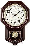 セイコー クロック 掛け時計 電波 アナログ 報時選択式 チャイム&ストライク 飾り振り子 八角尾長 木枠 濃茶 木地 RQ205B SEIKO