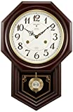 SEIKO CLOCK (セイコークロック) 掛け時計 電波 アナログ 報時選択式 チャイム&ストライク 飾り振り子 八角尾長 木枠 濃茶木地 RQ205B