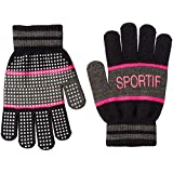 [ルコックスポルティフ] グローブ 手袋 ニット 通学 ガールズ スポーツ QMDMJD51 ブラック 日本 F (FREE サイズ)