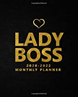 Lady Boss 2020-2022 Monthly Planner: Black Velvet Three Year Monthly Organizer, Schedule Agenda & Notebook - Leaf Gold 3 Year Calendar with 36 Months Spread View, Inspirational Quotes, To-Do's & Notes