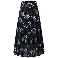NASHALYLY Long Chiffon Skirts Women, Maxi Skirts Bohemian Ankle Length Beach Skirt Plus Size.