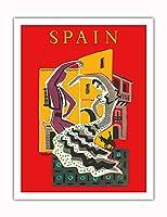 スペイン - フラメンコダンサー - ビンテージな世界旅行のポスター によって作成された ベルナール・ヴィユモ c.1957 - アートポスター - 51cm x 66cm