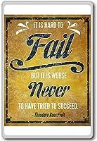 It Is Hard To Fail But... Franklin D. Roosevelt - motivational inspirational quotes fridge magnet - 蜀キ阡オ蠎ォ逕ィ繝槭げ繝阪ャ繝