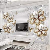 Xbwy 3Dヨーロッパスタイルの高級ジュエリーの花の壁画の壁紙リビングルームのテレビソファ家の装飾写真-150X120Cm