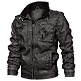 [KEFITEVD] シングルジャケット puレザー メンズ コート ミリタリー バイク用 ジャンパー ゆったり 春着 無地 グレー 4XL
