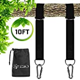Tree Swing Straps Hanging Kit - Two Extra Long Adjustable Straps 10ft , Holds 3000 lbs with Two Heavy Duty Carabiners (Stainless Steel), Fast & Easy Way to Hang Any Swing - Outdoor Swing Hangers
