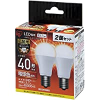 アイリスオーヤマ LED電球 口金直径17mm 40W形相当 電球色 広配光タイプ 2個セット 密閉器具対応 LDA4L-G-E17-4T42P