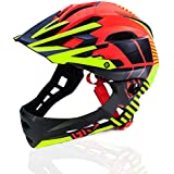 Fashion Four Seasons Motorcycle Off-Road Helmet Men and Women Mountain Bike Full-face Helmet Pretty (Color : Red, Size : M)
