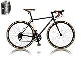 カノーバー クラシック ロードバイク 700C シマノ14段変速 CAR-013 (ORPHEUS) ステンレスボトル&ケージセット クロモリフレーム フロントLEDライト付 ブラック