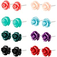 Charisma 8 pairs Stainless Steel Synthetic Turquoise Rose Stud Earrings for Girls Women Assorted Color Earring Set 6mm