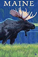メイン州–Moose in the Moonlight 12 x 18 Art Print LANT-19528-12x18