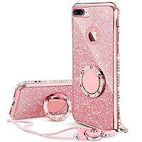KI¢KI iPhone7plus/iPhone8plus 適応 リング ストラップ付きケース キラキラ かわいい おしゃれ ラインストーン 女性 女子 アイフォン7 プラス アイフォン8プラス ケース 対応 耐衝撃 (ローズゴールド/ピンク)