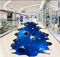 C656 巨大 3D フロアマット 4m*4m* 宇宙 惑星 星 空 月 風景 景色 リフォーム 防音 断熱 滑り止めシート 床 壁 天井 はがせるシール