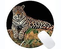 滑り止めのゴム製賭博の円形のマウスパッド、ジャガー猫家族のヒョウの円形のマウスパッド