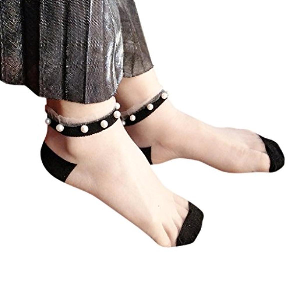 切り下げうなる費用Mhomzawa 靴下レディース ソックス レディース シースルーソックス ガラスワイヤ ステルス ソックス 象嵌真珠スリップ通気性 極薄 短型 夏用 おしゃれ 超可愛い