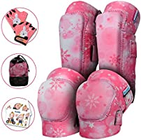 Innovative Soft Kids Knee and Elbow Pads with Bike Gloves - Toddler Protective Gear Set w/Mesh Bag& Sticker CSPC...