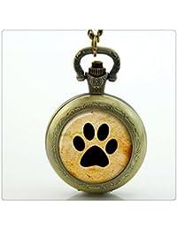 犬の恋人犬ポウ恋人いぬ写真の時計用ジュエリー懐中時計ネックレスフットプリント足ジュエリーギフト
