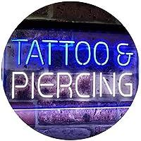 Tattoo Piercing Get Inked Shop Open Dual LED看板 ネオンプレート サイン 標識 White & Blue 400mm x 300mm st6s43-i2484-wb