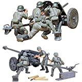 2 Sets of Tamiya Military Assembly Models - German Anti-Tank Guns - 75 mm PAK 40/L46 and 37 mm PAK 35/36 Sets (Japan Import)