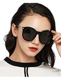 Luoyiman サングラス ウェリントン レディース 軽量 uvカット 偏光 人気 ファッションサングラス ブラック