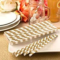 Fashioncraft 'Perfect Plain' Collection Matte Paper Straws, Gold/White by Fashioncraft