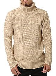 JIGGYS SHOP (ジギーズショップ) ニット セーター メンズ タートルネック ケーブル編み 厚手 長袖 防寒 ボーダー アメカジ