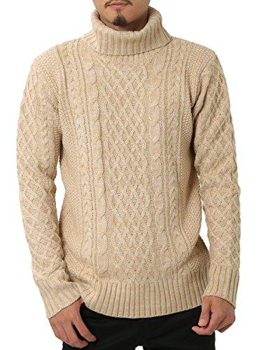 JIGGYS SHOP (ジギーズショップ) ニット セーター メンズ タートルネック ケーブル編み 厚手 長袖 防寒 ボーダー アメカジ M C ミックスベージュ