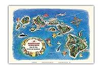 ハワイ州の絵地図 - ハワイアン航空の飛行ルートマップ - ビンテージ イラスト マップ c.1963 - アートポスター - 33cm x 48cm