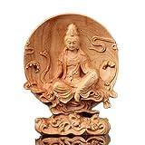 高品質 ツゲの木彫り観音菩薩 文殊菩薩仏像 風水置物